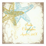 PixDezines Vintage Starfish+floral beach wedding Invitation