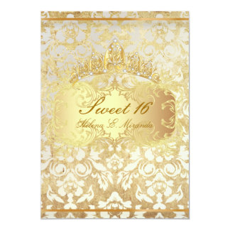 PixDezines vintage Sweet 16/ princess/pearl damask 5x7 Paper Invitation Card