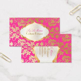 PixDezines vintage tanza damask/faux gold+pearl Business Card