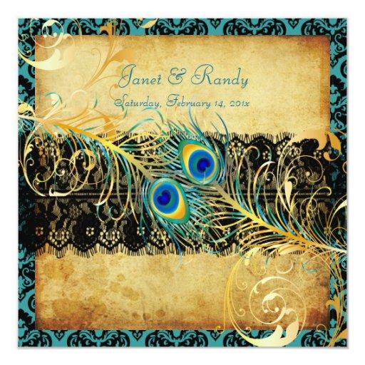 PixDezines vintage teal peacock 5.25x5.25 Square Paper Invitation Card