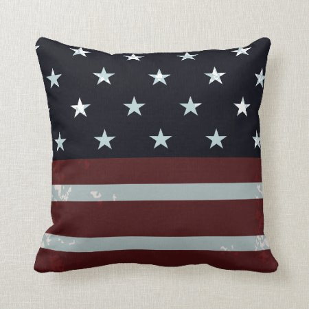 PixDezines vintage us flag Throw Pillow