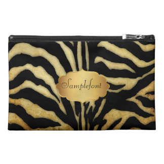PixDezines vintage zebra/diy text Travel Accessory Bag