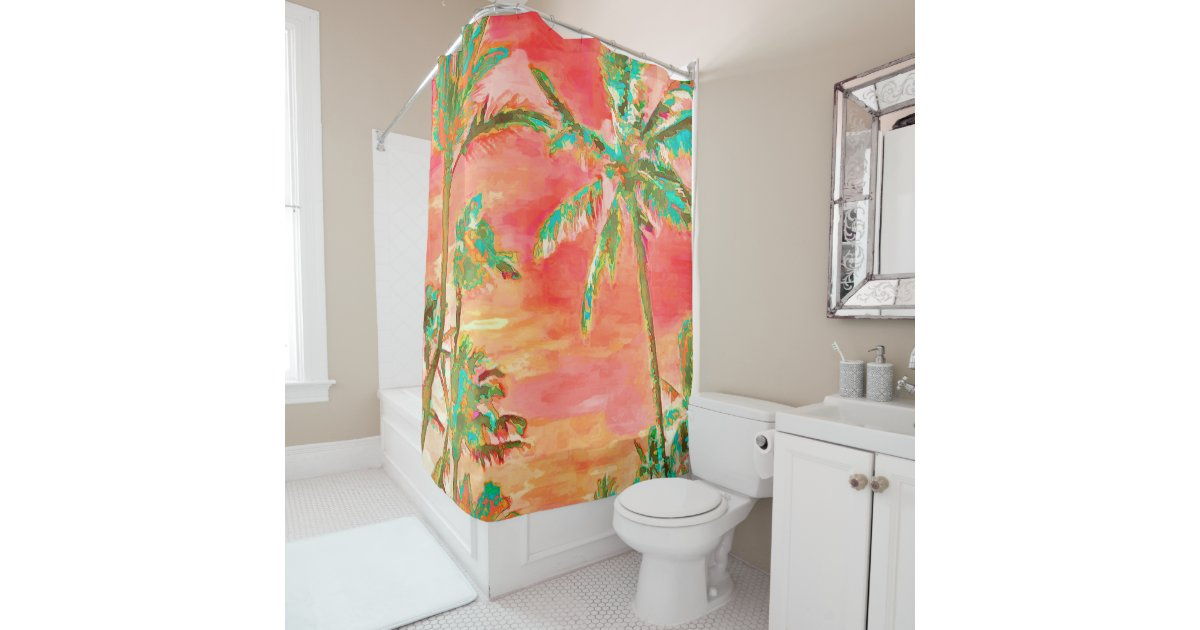 pixdezines watercolor affects hawaii coral teal shower