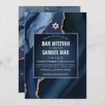 """PixDezines Watercolor Agate Slate Blue Mitzvah Invitation<br><div class=""""desc"""">PixDezines modern Bar Mitzvah.  Watercolor Agate in dark slate blue and black accented with faux gold veins.  DIY for any event,  simply delete unused layers.  Our dynamic design allows you to edit all elements.    Copyright © 2020 PixDezines™.   All rights reserved.</div>"""