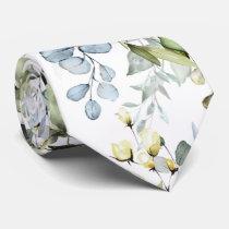 PixDezines Watercolor Dusty Blue Gum Foliage Neck Tie