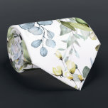 "PixDezines Watercolor Dusty Blue Gum Foliage Neck Tie<br><div class=""desc"">PixDezines floral and foliage in watercolor neck tie,    Dusty blue gum foliage.  DIY background color.