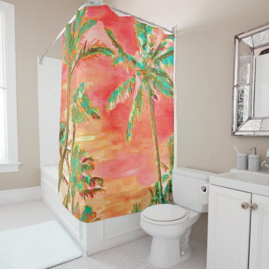PixDezines Watercolor Effects/Hawaii/Coral/Teal Shower Curtain ...