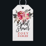 """PixDezines Watercolor Floral Bridal Shower Gift Tags<br><div class=""""desc"""">PixDezines watercolor flowers, masala red for fall / autumn wedding foliage for a Bridal Shower.. thank you tags. PixDezines dynamic designs allow you to edit, copy and paste any elements on this template. To view more of our floral tags, copy and paste this URL: www.zazzle.com/pixdezines floral gift tags?rf=238522335502586196 Copyright ©...</div>"""