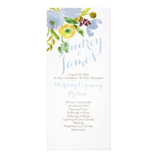 PixDezines Watercolor Floral Wedding Program Custom Rack Cards