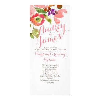 PixDezines Watercolor Floral Wedding Program Rack Card Template