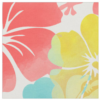 PixDezines watercolor hibiscus/orange/yellow/blue Fabric