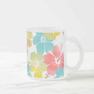 PixDezines watercolor hibiscus/orange/yellow/blue Frosted Glass Coffee Mug