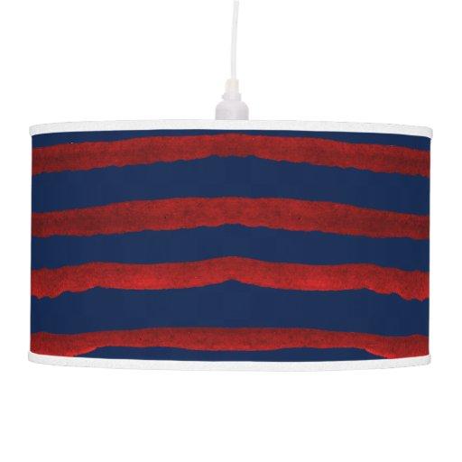 Pixdezines Watercolor Red Stripes Navy Blue Ceiling Lamps