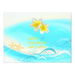 "PixDezines Waves, Plumeria Lei+starfish+beach 6.5"" X 8.75"" Invitation Card"