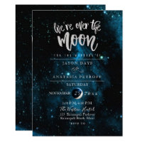 PixDezines We are Over the Moon Wedding Invitation