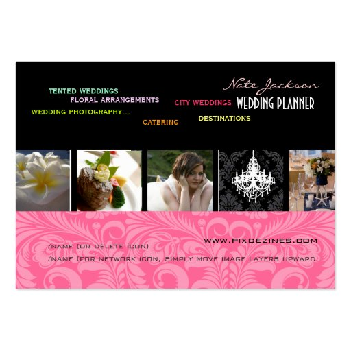 PixDezines wedding planners/diy colors+fonts Business Card