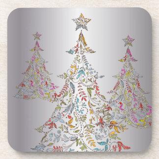 PixDezines Whimpsy Christmas Tree/hot pink Beverage Coaster