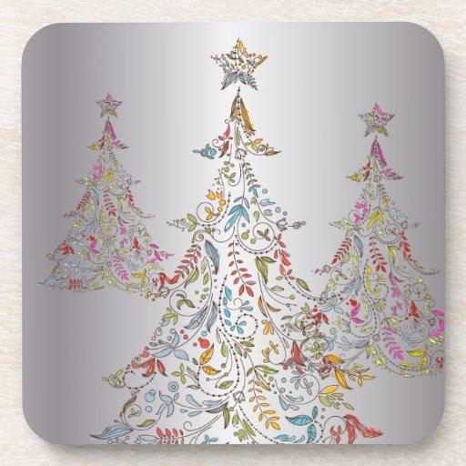 PixDezines Whimpsy Christmas Tree/hot pink Drink Coasters