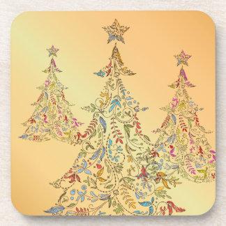 PixDezines Whimpsy Christmas Tree/hot pink Drink Coaster