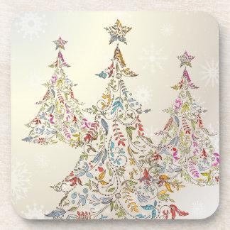 PixDezines Whimpsy Christmas Tree+snowflakes Beverage Coaster