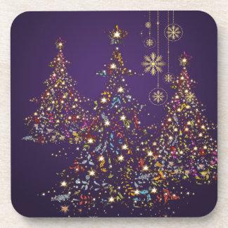 PixDezines Whimpsy Christmas Tree+snowflakes Beverage Coasters