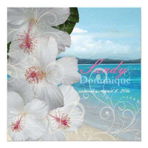 PixDezines White Hibiscus/beach/tropical wedding Custom Announcement