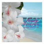 PixDezines White Hibiscus/beach/tropical wedding Custom Announcements