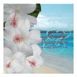PixDezines White Hibiscus/beach/tropical wedding Custom Invites