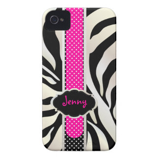 PixDezines White Zebra/Pink+Black/DIY color Case-Mate iPhone 4 Case