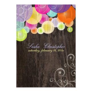 PixDezines wood grain+fiesta lanterns Card