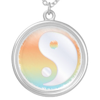 PixDezines Yin Yang, Sunset at the Beach Silver Plated Necklace