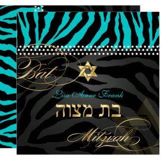 PixDezines Zebra Bat Mitzvah/DIY Color Aqua Card