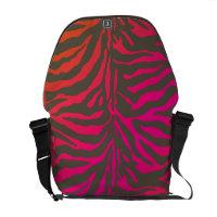 PixDezines zebra/neon pink+orange rickshawmessengerbag