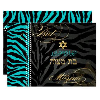 PixDezines Zebra RSVP Bat Mitzvah/DIY Color Aqua Card