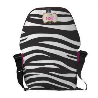 PixDezines zebra stripes/monogram Messenger Bags