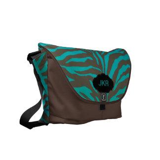PixDezines zebra stripes/monogram/teal Messenger Bags