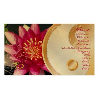 PixDezinesFuschia lotus + pearly swirls + yin yang Business Cards
