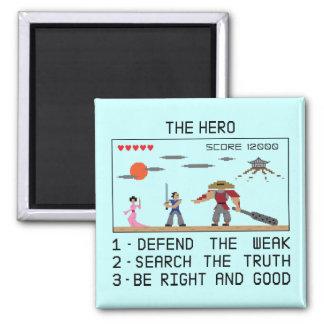 Pixel 8bit Samurai Hero - Magnet