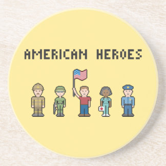 Pixel American Heroes Drink Coaster