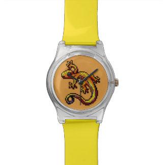 Pixel anaranjado curioso de la raya azul del lagar relojes