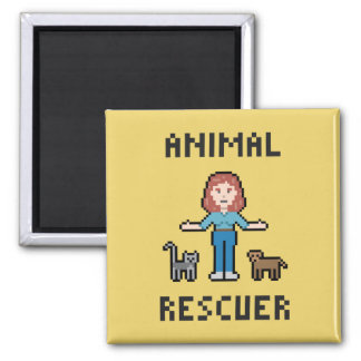 Pixel Animal Rescuer 2 Inch Square Magnet