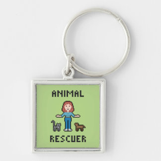 Pixel Animal Rescuer Silver-Colored Square Keychain