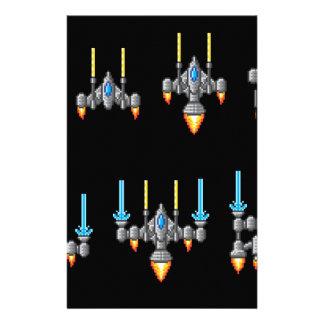 Pixel Art Arcade Video Game Spaceship Stationery