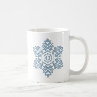 Pixel art Blue snowflake Coffee Mug