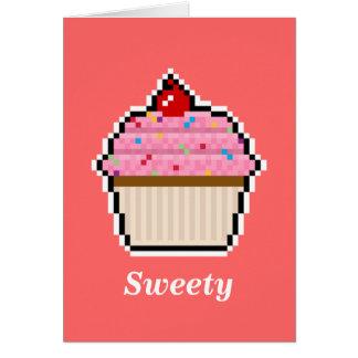 Pixel Art Cupcake Card