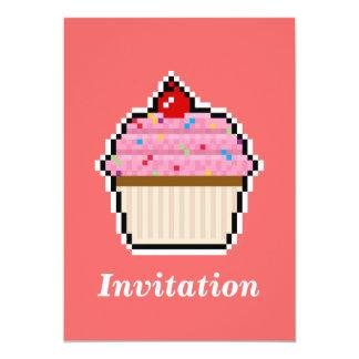 Pixel Art Cupcake Invitation