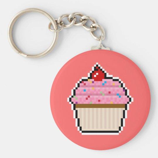 Pixel Art Cupcake Keychain