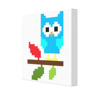 Pixel Art Cute Owl Canvas Print