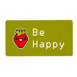 Pixel Art Cute Strawberry Avery Label Shipping Label