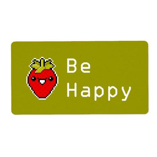 Pixel Art Cute Strawberry Avery Label Zazzle